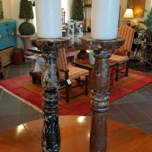 Antique Italian Carved Wooden Candlesticks