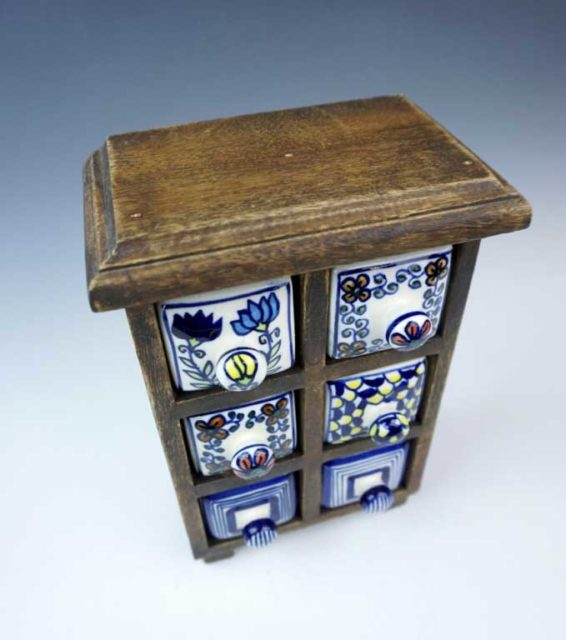 Apothecary Storage Chest with Six Porcelain Drawers