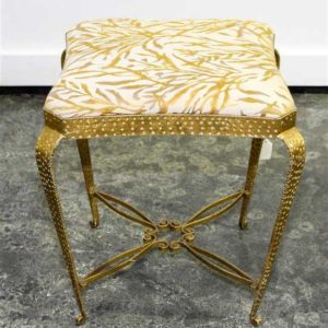 Art Deco Brass Stool with Upholstered Seat