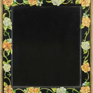 Black Floral Painted Mirror Great Finds and Design Pewaukee Antiques