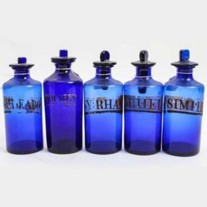 Blue Glass Apothecary Bottles