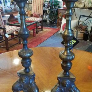 Brass Candlesticks Lion Design