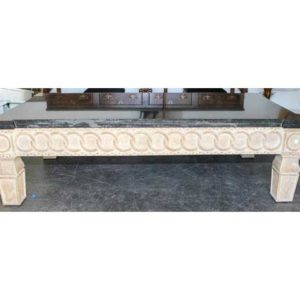 Cerused Wood and Marble Low Table