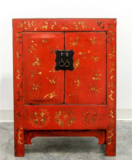 Chinese Red Lacquered Elmwood Cabinet
