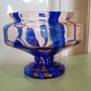 Clear Blue Striped Czech Glass Bowl Great Finds and Design Pewaukee WI