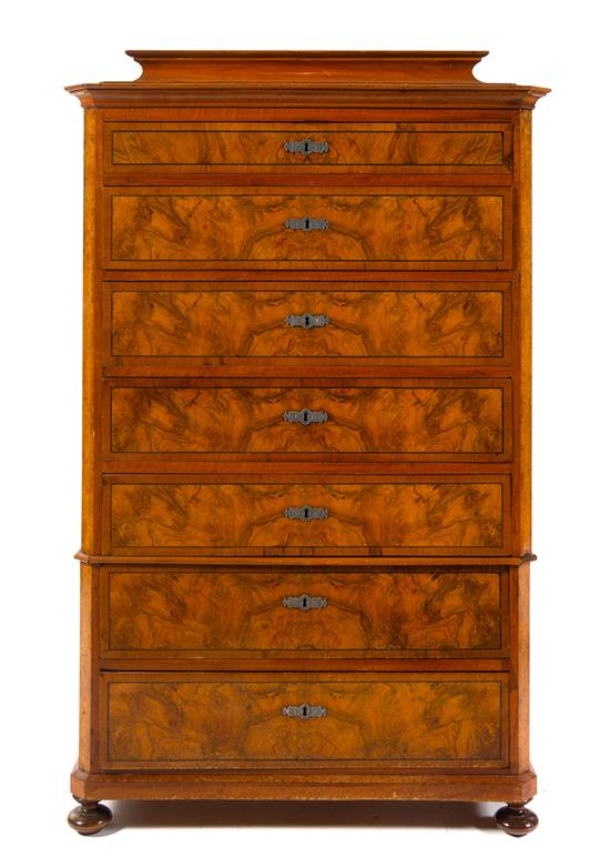 Continental Burlwood Semainier | Antique Furniture Pewaukee, WI