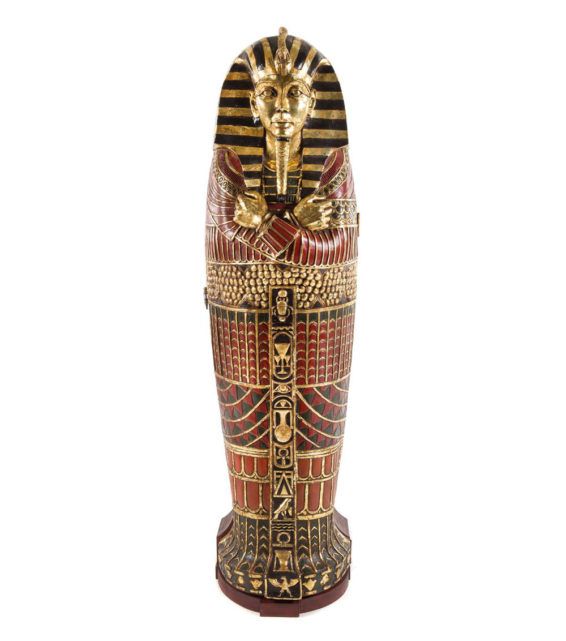 Egyptian Style Painted Composition Sarcophagus Cabinet | Unique Furniture Pewaukee, WI