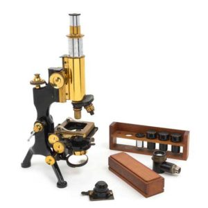 English Brass and Black Lacquered Microscope