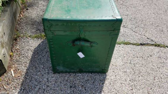 Green Painted Steamer Trunk