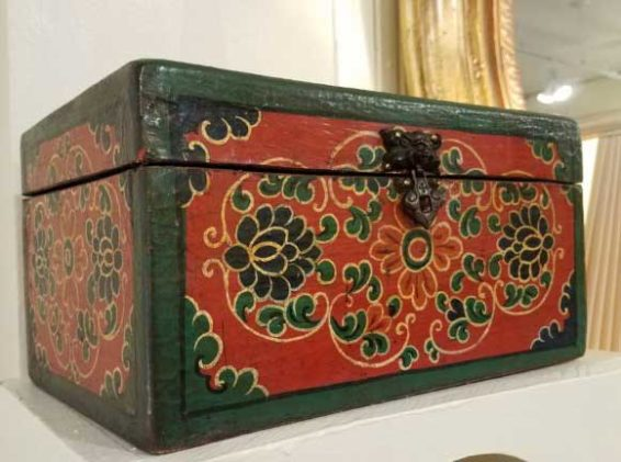 Hand Painted Tibetan Box Great Finds and Design Antiques Pewaukee WI