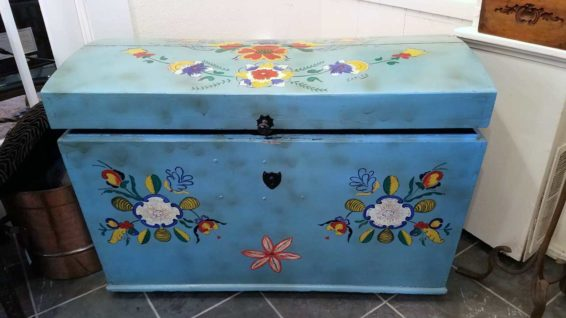 Hand-painted Blue Trunk Great Finds and Design Pewaukee WI Antiques