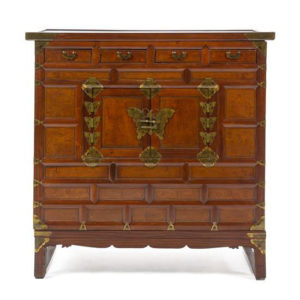 Korean Brass Mounted Elmwood Cabinet