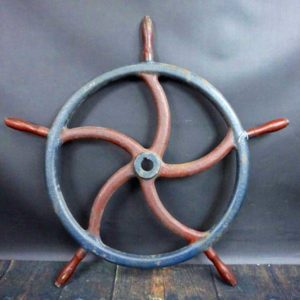 Large Antique Iron Nautical Ships Wheel
