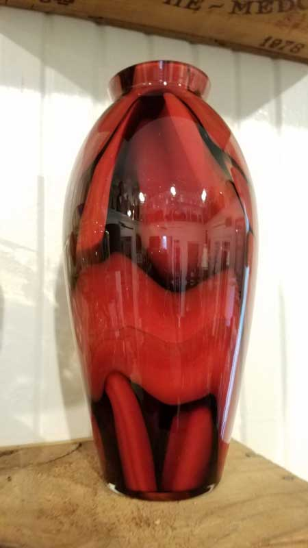 Large Red and Black Czech Vase
