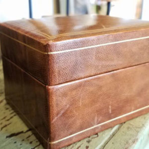 Leather Jewelry Box with Dividers Antique