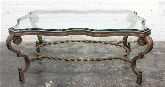 Low Height Wrought Iron Glass Table