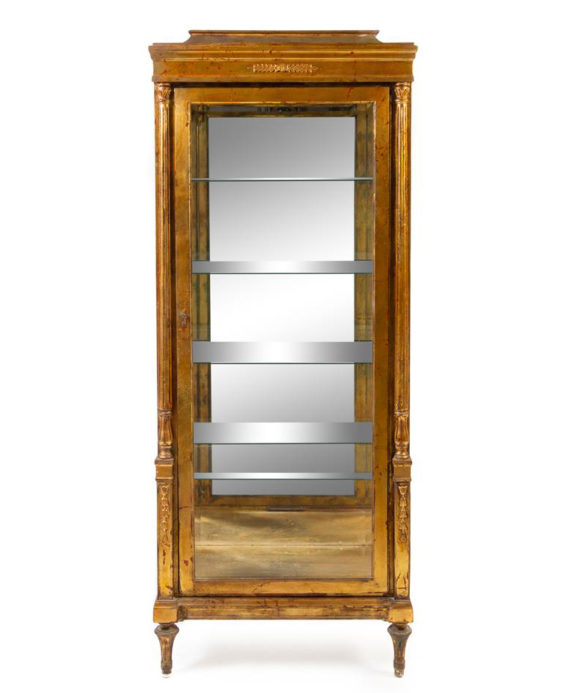Neoclassical Style Giltwood Vitrine Cabinet Pewaukee Antique Furniture