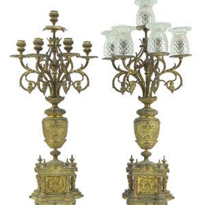 Pair of Gilt Metal Five-Light Candelabra Pewaukee Antiques
