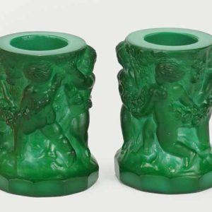 Pair of Malachite Glass Candleholders Pewaukee WI Antiques and Gifts