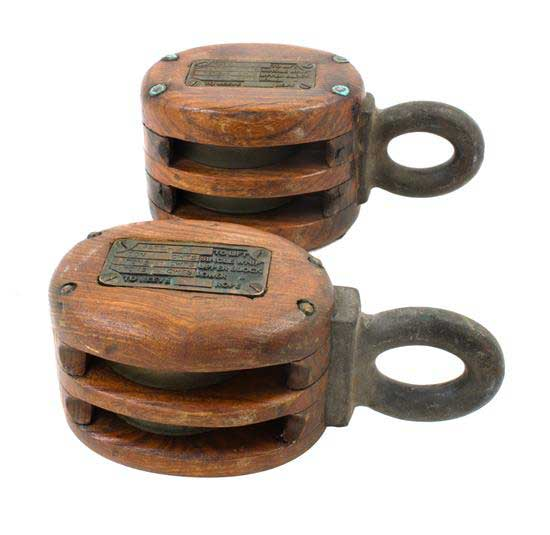 Two Metal and Wood Pulley Blocks
